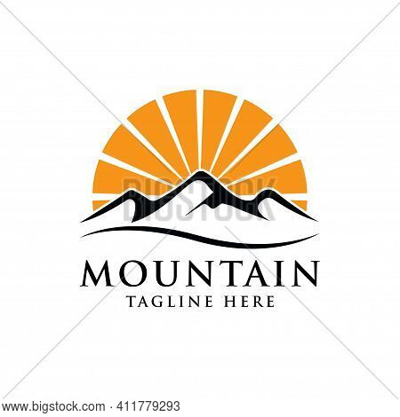 Mountain And Sunset Logo. Black And Orange Color. Vector Illustrator
