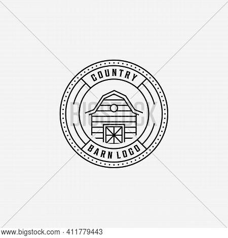 Emblem Of Line Art Barn Vector Logo, Illustration Design Of Vintage Badge Of Barn Storehouse Farmhou