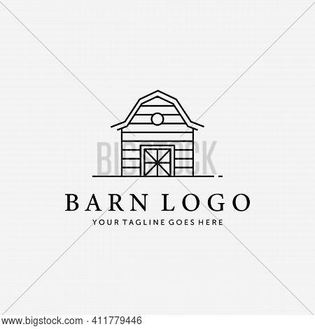 Wooden Barn House Line Art Vector Logo, Illustration Vintage Design Of Cabin Cottage Old Red Barn Hu