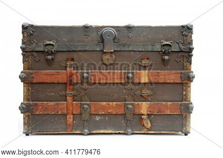 Steamer Trunk. Antique Steamer Trunk. Isolated on white. Vintage Shipping and Storage Trunk. Locking and Latching Old Trunk from the 1800's.