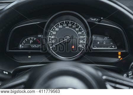 Novosibirsk, Russia - March 2 2021: Mazda 3,close Up Instrument Automobile Panel With Odometer, Spee