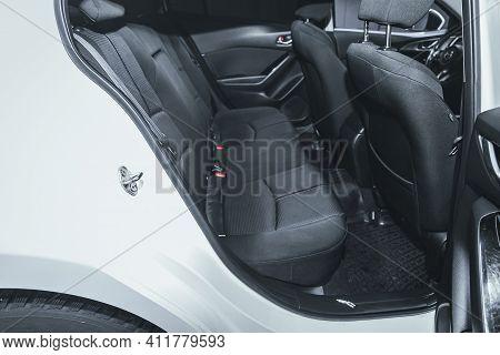 Novosibirsk, Russia - March 2 2021: Mazda 3, Comfort Car Inside. Clean Car Interior: Black Back Seat