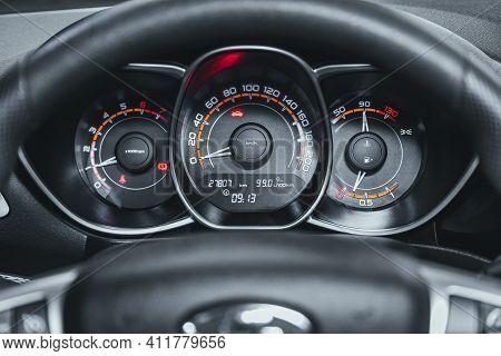 Novosibirsk, Russia - March 2 2021: Lada Vesta, Close Up Instrument Automobile Panel With Odometer,