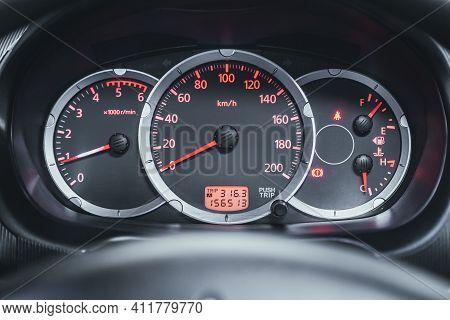 Novosibirsk, Russia - March 2 2021: Mitsubishi L200, Close Up Instrument Automobile Panel With Odome