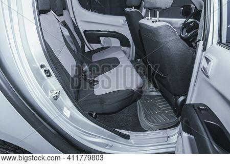 Novosibirsk, Russia - March 2 2021: Mitsubishi L200,comfort Car Inside. Clean Car Interior: Black Ba