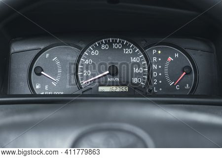 Novosibirsk, Russia - March 2 2021: Toyota Corolla, Close Up Instrument Automobile Panel With Odomet