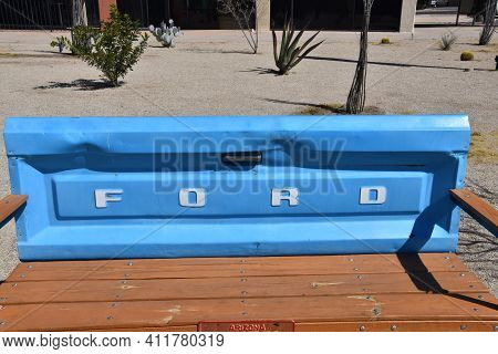 Casa Grandes, Arizona, 2, 2021: The Tail Gate Bench Made From An Old Pickup Is A Product Of The Ford