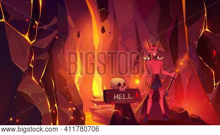 Devil In Hell, Horned Heck With Hooves Hold Pitchfork Stand At Entrance To Infernal Hot Cave With La