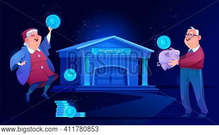 Pension Fund Plan And Bank Savings. Senior Man With Money Piggy Bank And Old Woman Holding Huge Coin