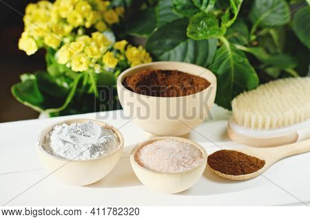 Ingredients For Homemade Exfoliating Body Scrub. Spring Skin Renew And Cellulite Treatment. Hand Mad