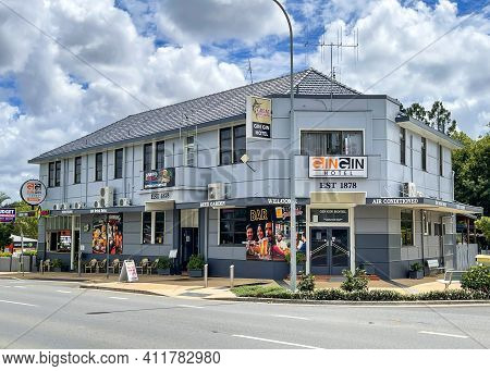 Gin Gin, Australia - February 28, 2021: Facade Of The Gin Gin Hotel, Built In 1878 In The Rural Town