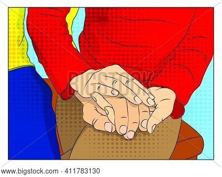Close Up Of A Woman Holding A Male Hand. People Holding Hands. Showing Candid Feelings Like Love, Tr