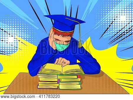 Male Student Preparing For Exams With A Lot Of Books, Wearing Graduation Cap And Mask. College Unive