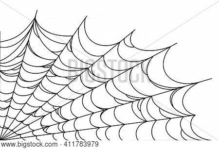 Spider Web Corner For Halloween Designs. Spiderweb Corner Isolated In White Background. Outline Vect