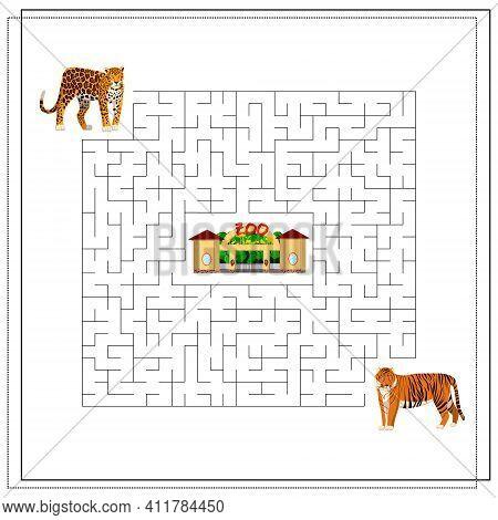 A Maze Puzzle Game For Kids. Help Me Get Through The Maze. Jaguar, Tiger, Zoo. Vector Illustration I