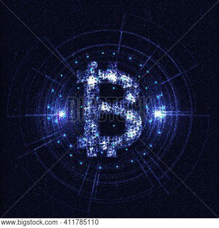 Modern Digital Bitcoin Money Sign.vector Flat Bitcoin Currency Logo On Dark Blue Background.