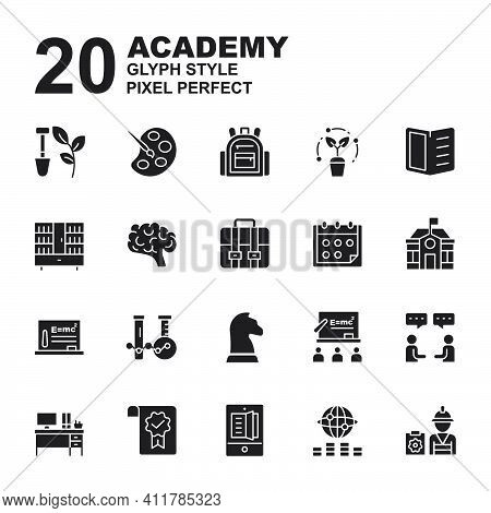 Icon Set Of Academy. Glyph Black Style Icon Vector. Contains Such Of Agriculture, Class, University,