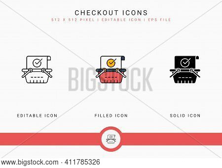 Checkout Icons Set Vector Illustration With Solid Icon Line Style. Online Store Retail Concept. Edit