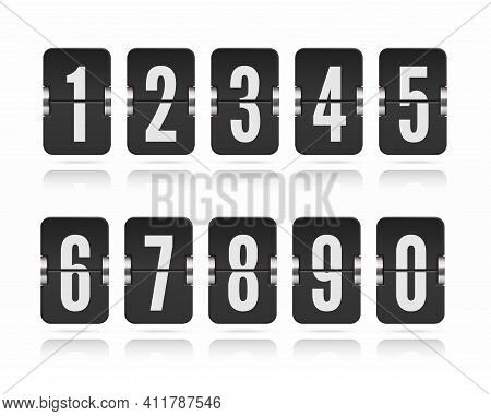 Vector Template With Floating Flip Scoreboard Numbers And Reflections For Black Countdown Timer Or C