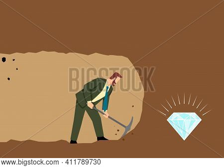 Simple Flat Vector Illustration Of A Businessman Digging And Mining To Find Treasure