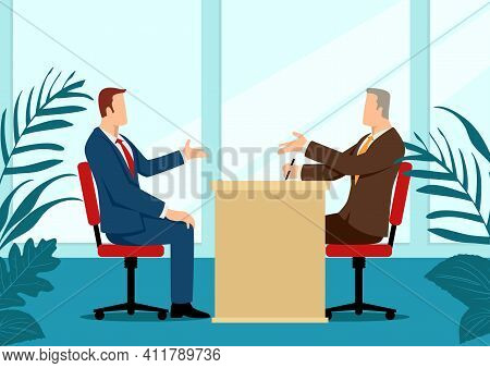 Business Illustration Of A Man Being Interviewed By Recruiter. Negotiate, Candidate Business Concept
