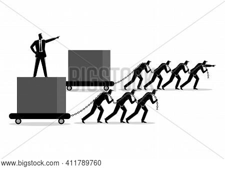 Business Concept Illustration Of Businessmen Dragging A Big Box, Leading The Race Against Slower Gro