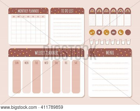 Cute Monthly Planner In Boho Style. Daily, Weekly Template. To Do List. Business Organizer Page With