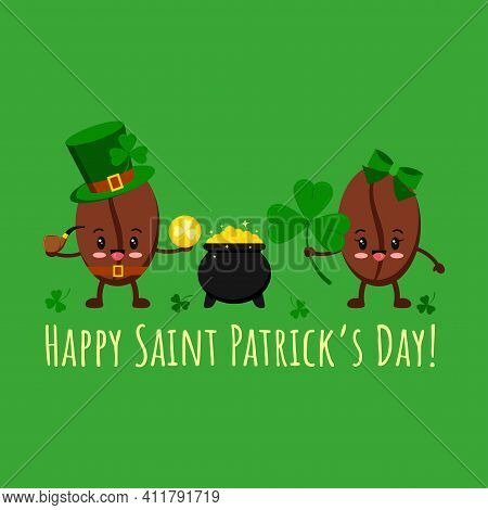 St Patrick Day Coffee Beans In Leprechaun Costume, Pot With Gold, Clover. Coffee Grain Smilling Char