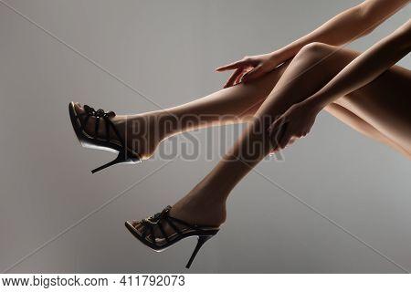 Foot Fetish. Woman Sexy Legs. Seductive Girl