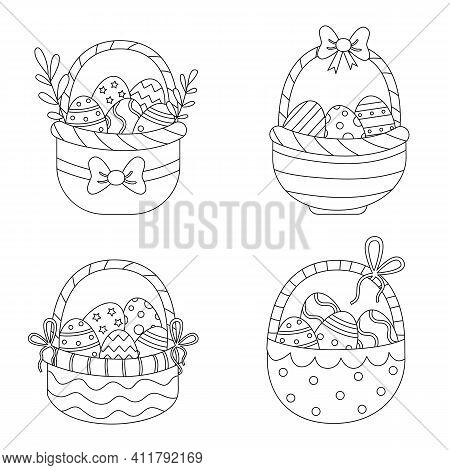 Color Easter Baskets. Coloring Page For Kids.