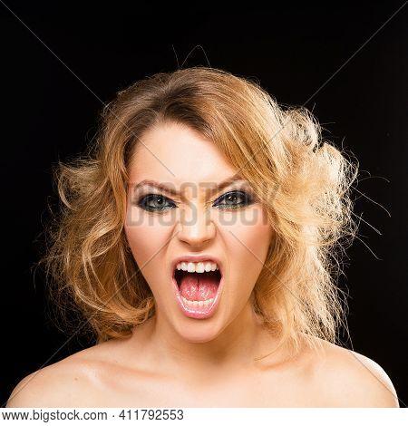 Female Fashion Makeup. Screaming Girl Portrait. Angry Woman. People Emotion, Negative Feelings