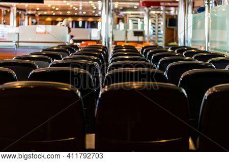 Ferry Inside, Empty Seats Without Passengers, Passenger Deck