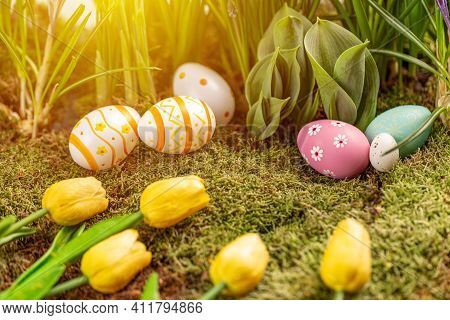 Still Life Easter Background. Colorful Easter Eggs With Tulips. Easter Greeting Card Composition