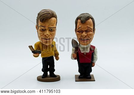 Bologna / Italy - September 3, 2020: Old And Young Captain James Kirk Bobble Head From Star Trek.