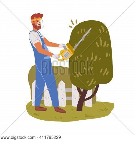 Man Trimming Plant With Hedge Trimmer. Professional Garden Worker Working With Bush Or Tree In Backy