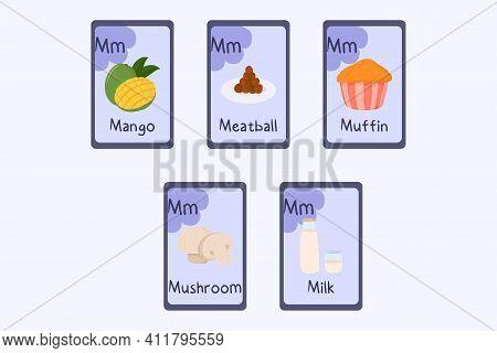 Colorful Alphabet Flashcard Letter M - Mango, Meatball, Muffin, Mushroom, Milk. Food Themed Cards Fo