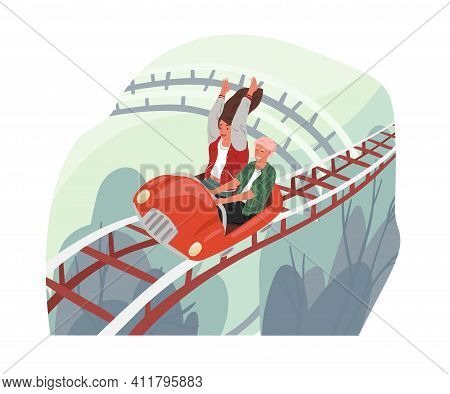 Happy Love Couple Riding Roller Coaster Car. Entertainment Of Careless Free People In Amusement Park