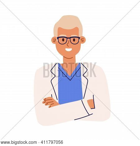 Portrait Of Pharmacist In Eyewear And Medical Coat. Avatar Of Smiling Health Worker In Uniform. Colo