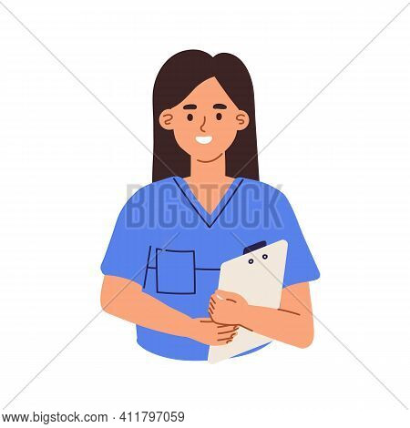 Avatar Of Smiling Doctor Or Health Worker In Medical Scrubs. Portrait Of Young Nurse With Clipboard