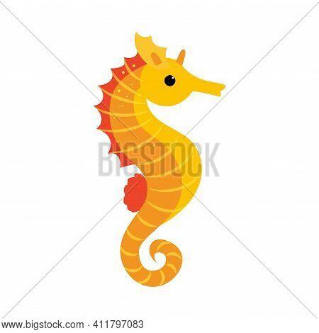 Seahorse As Sea Animal Floating Underwater Vector Illustration