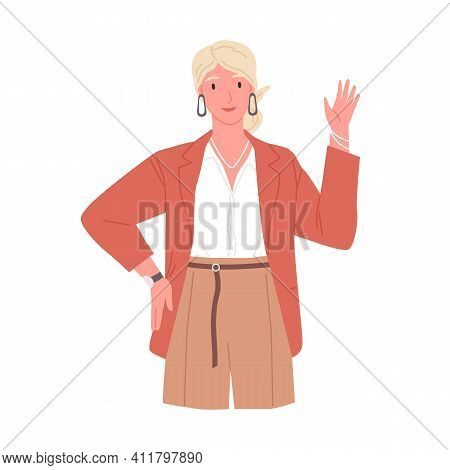 Portrait Of Smiling Young Woman Saying Hello And Waving With Hand. Hi Or Bye Gesture. Happy Business