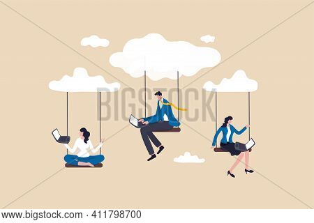 Cloud Computing, Remote Work On Company Cloud Infrastructure, Technology To Connect People Concept,