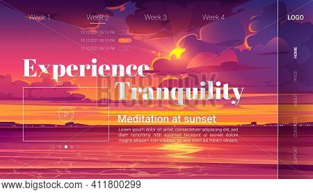 Meditation At Sunset Cartoon Landing Page, Invitation To Yoga Experience On Evening Ocean Beach. Pur