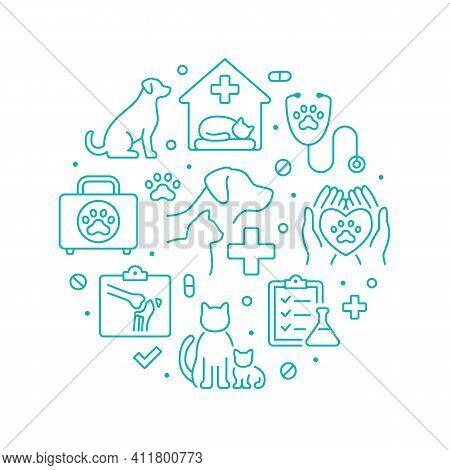 Veterinary Clinic Green Color Circle Poster With Line Icons. Vector Illustration Included Icon As Ca