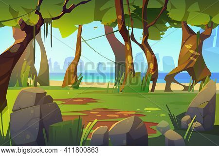 Cartoon Landscape With Forest And Sea View, Scenery Background, Natural Trees, Moss On Trunks And Ro