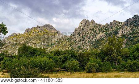 Rocky Mountain Landscape, Vertical Wall For Climbing. Pico De La Miel. The Cabrera. Madrid.