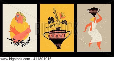 A Set Of Illustrations With Greek Motives. Images Of Women, Flowers And Vases In The Original Style.