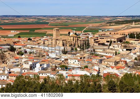 Aerial View Of The Town Of Belmonte In La Mancha Spain. Houses, Church And Buildings Typical Of The