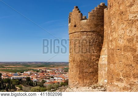 Castle And Town Of Belmonte In La Mancha, Cuenca Spain. Europe,