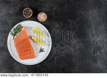 Top View Of Fresh Raw Atlantic Salmon. Great Source Of Omega-3 Fatty Acids And Protein. Keto Diet, H